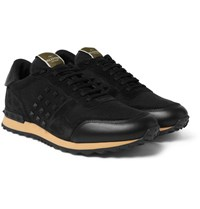 Valentino Rockstud Suede And Twill Sneakers Black