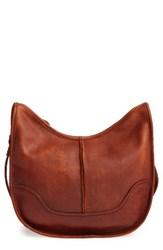Frye Cara Leather Saddle Bag Brown Cognac