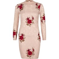 River Island Womens Petite Pink Floral Embroidered Bodycon Dress