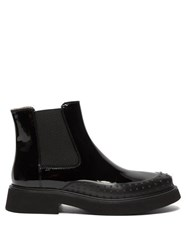 Tod's Rubber Toe Patent Leather Chelsea Boots Black