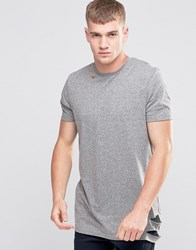 Asos Longline T Shirt With Ripped Hem And Slashed Neck Grey