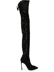 Sergio Rossi Embroidered Stiletto Thigh Length Boots Black