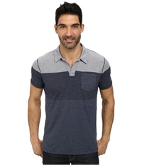 Dkny Short Sleeve Engineered Feeder Stripe Polo Black Iris Men's Short Sleeve Pullover