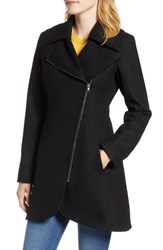 Halogen Asymmetrical Zip Wool Blend Coat Black