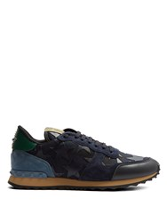 Valentino Rockrunner Leather And Suede Low Top Trainers Black Multi