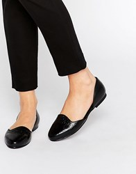 Park Lane 2 Part Flat Shoes Black Croc Leath And