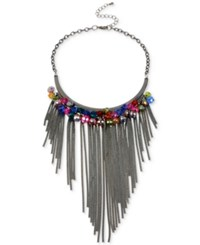 Macy's M. Haskell Hematite Tone Faceted Bead And Chain Fringe Bib Necklace Multi