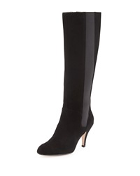 Theresa Suede Stretch Knee Boot Black Taryn Rose