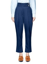 Toga Archives Belted Wool Blend Carrot Pants Blue