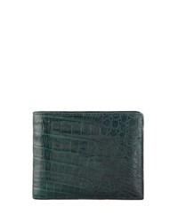 Santiago Gonzalez Crocodile Wallet Hunter Green Men's