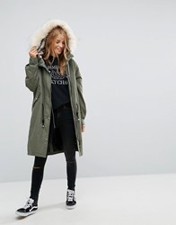 Pull And Bear Pullandbear Longline Parka Jacket With Faux Fur Hood Green