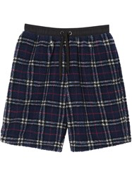 Burberry Vintage Check Faux Shearling Drawcord Shorts Blue