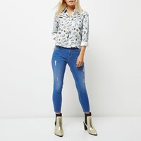 River Island Womens Petite Bright Blue Amelie Super Skinny Jeans