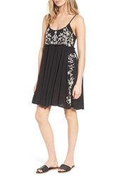 Band Of Gypsies Embroidered Babydoll Dress Black Ivory