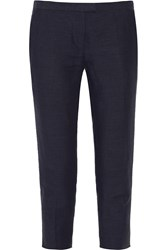 Etoile Isabel Marant Jim Cropped Linen And Cotton Blend Skinny Pants Blue