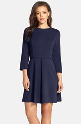 Women's Eliza J Pleated Crepe Fit And Flare Dress Navy