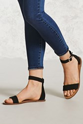 Forever 21 Faux Suede Ankle Strap Sandals Black