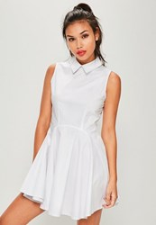 Missguided White Collar Full Skirt Dress