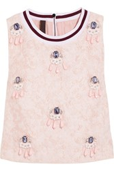 Mother Of Pearl Morley Cropped Embellished Cloque Top Pink