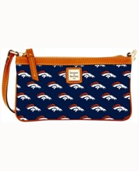 Dooney And Bourke Denver Broncos Large Wristlet Navy