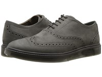Hush Puppies Shiba Brogue Oxford Dark Grey Nubuck Lace Up Cap Toe Shoes Brown