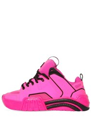 Gcds 50Mm Leather And Mesh Sneakers Fuchsia