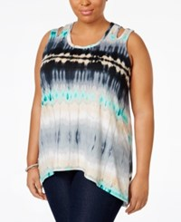Ny Collection Plus Size Tie Dyed Keyhole Tank Top Turquoise Airsound