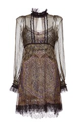 Etro High Neck Lace Trim Dress Print