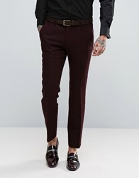 Noose And Monkey Super Skinny Harris Tweed Trousers Bordeaux Red