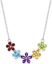 Macy's Multi Stone Floral Necklace 3 3 4 Ct. T.W. In Sterling Silver