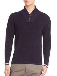 G Star Ezra Textured Shawl Knit Sweater Navy