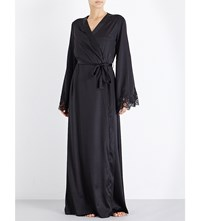 Id Sarrieri Long Stretch Silk Satin And Lace Robe Black