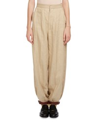 Loewe Linen Balloon Trousers W Leather Cuffs Sand