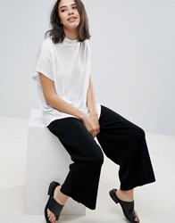 Soaked In Luxury High Neck Drapey T Shirt White