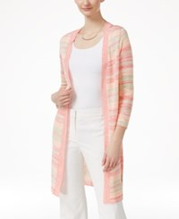 Ny Collection Marled Striped Pointelle Knit Cardigan Coral