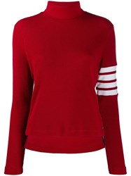 Thom Browne 4 Bar Compact Waffle Turtleneck Red