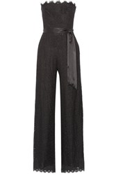 Rachel Zoe Satin Trimmed Corded Lace Jumpsuit Black