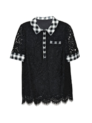 Dolce And Gabbana Point Collar Gingham Detail Lace Blouse