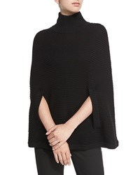 Halston Mock Neck Ribbed Poncho Black