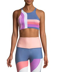 Onzie High Neck Elastic Graphic Low Impact Sports Bra Multi Pattern