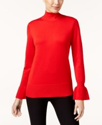 Cable And Gauge Flared Cuff Mock Neck Sweater