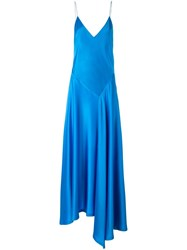 Dkny Asymmetric Slip Dress Blue