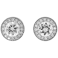 Jools By Jenny Brown Round Pave And Diamond Cut Cubic Zirconia Stud Earrings