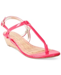 Rampage Selery Demi Wedge Thong Sandals Women's Shoes Fuscia