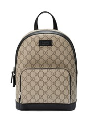 Gucci Gg Supreme Small Backpack Leather Canvas Microfibre Brown