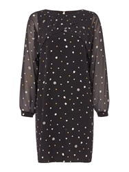 Biba Polkadot Printed Split Sleeve Dress Black