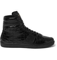 Saint Laurent Patent Croc Effect Leather High Top Sneakers Black