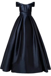 Reem Acra Draped Off The Shoulder Satin Gown Navy