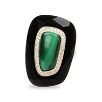 Bellus Domina Adjustable Malachite Festino Ring Black