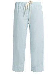 Loup Charmant Drawstring Waist Cropped Cotton Trousers Light Blue